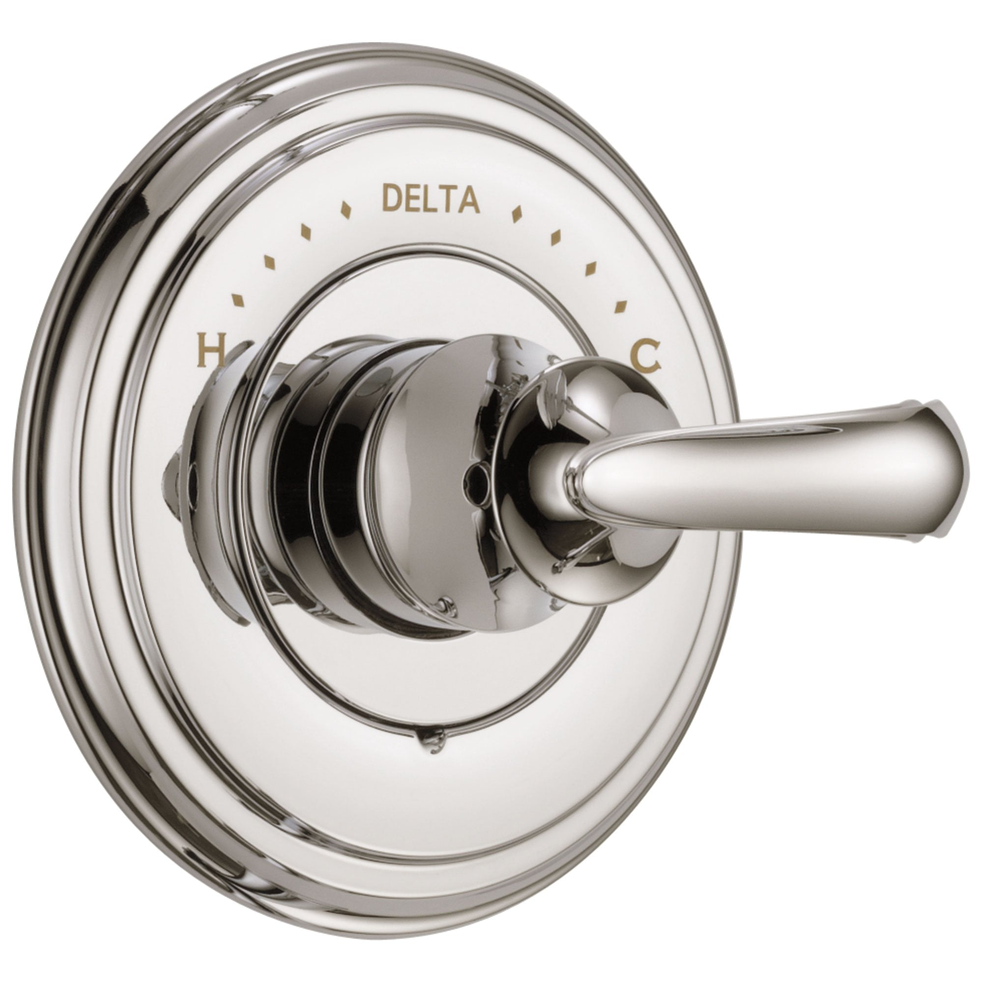 Delta Cassidy Collection Polished Nickel Monitor 14 Series Shower Valve Control Only INCLUDES Single French Scroll Lever Handle and Valve without Stops D1858V