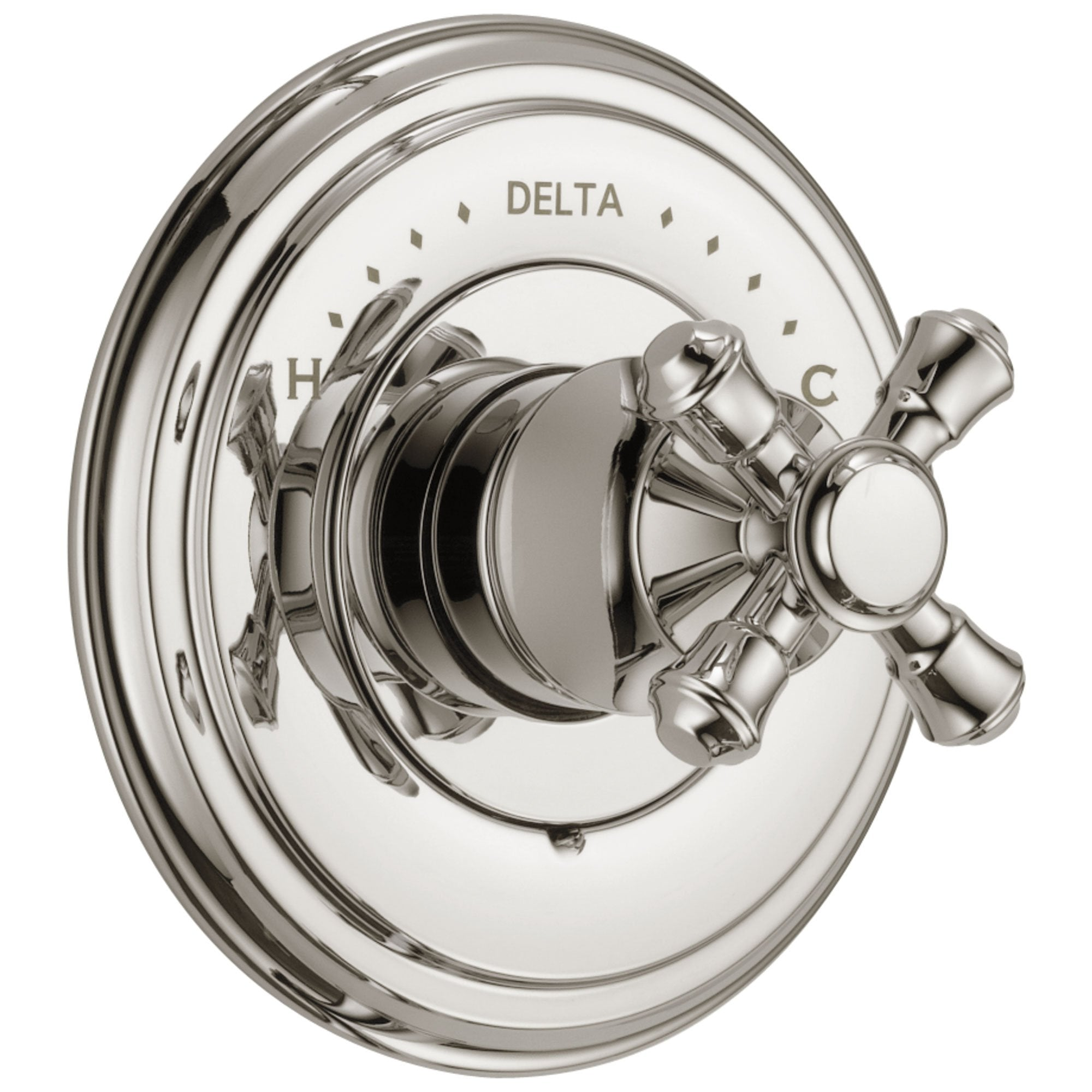 Delta Cassidy Collection Polished Nickel Monitor 14 Series Shower Valve Control Only INCLUDES Single Cross Handle and Rough-in Valve without Stops D1859V