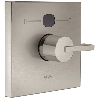 Delta Stainless Steel Finish Vero Temp2O Modern Square Electronic Shower Faucet Valve Only Control INCLUDES Single Lever Handle and Valve with Stops D1877V