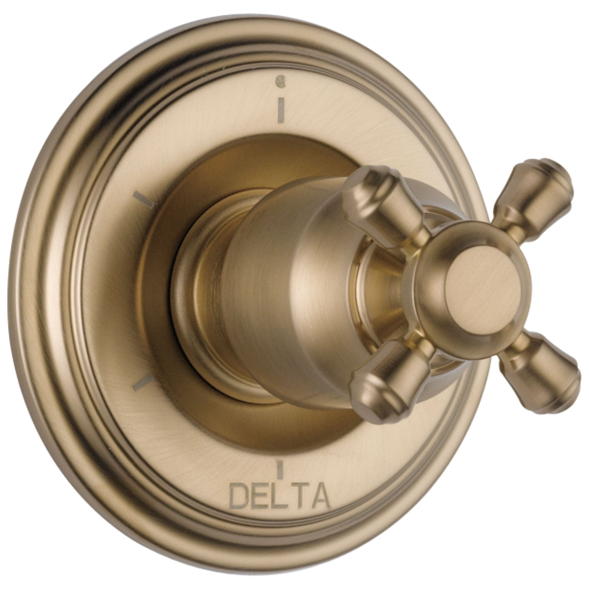 Delta Cassidy Collection Champagne Bronze Finish 6-Setting 3-Port Shower Diverter INCLUDES Cross Handle and Rough-in Valve D1893V