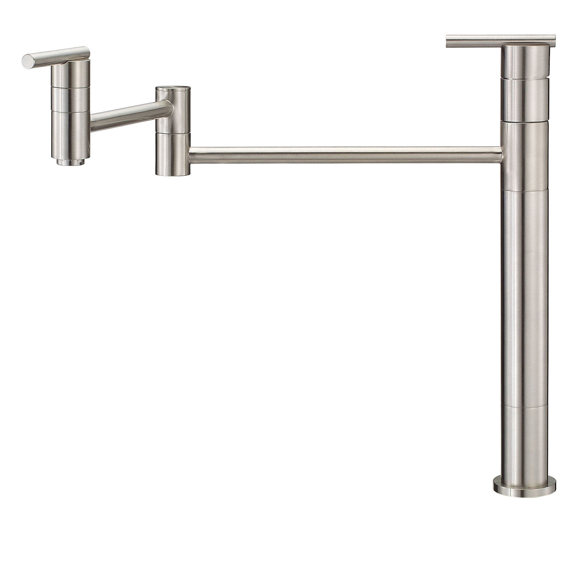 Danze Parma Stainless Steel Finish Deck Mount Modern Pot Filler Faucet