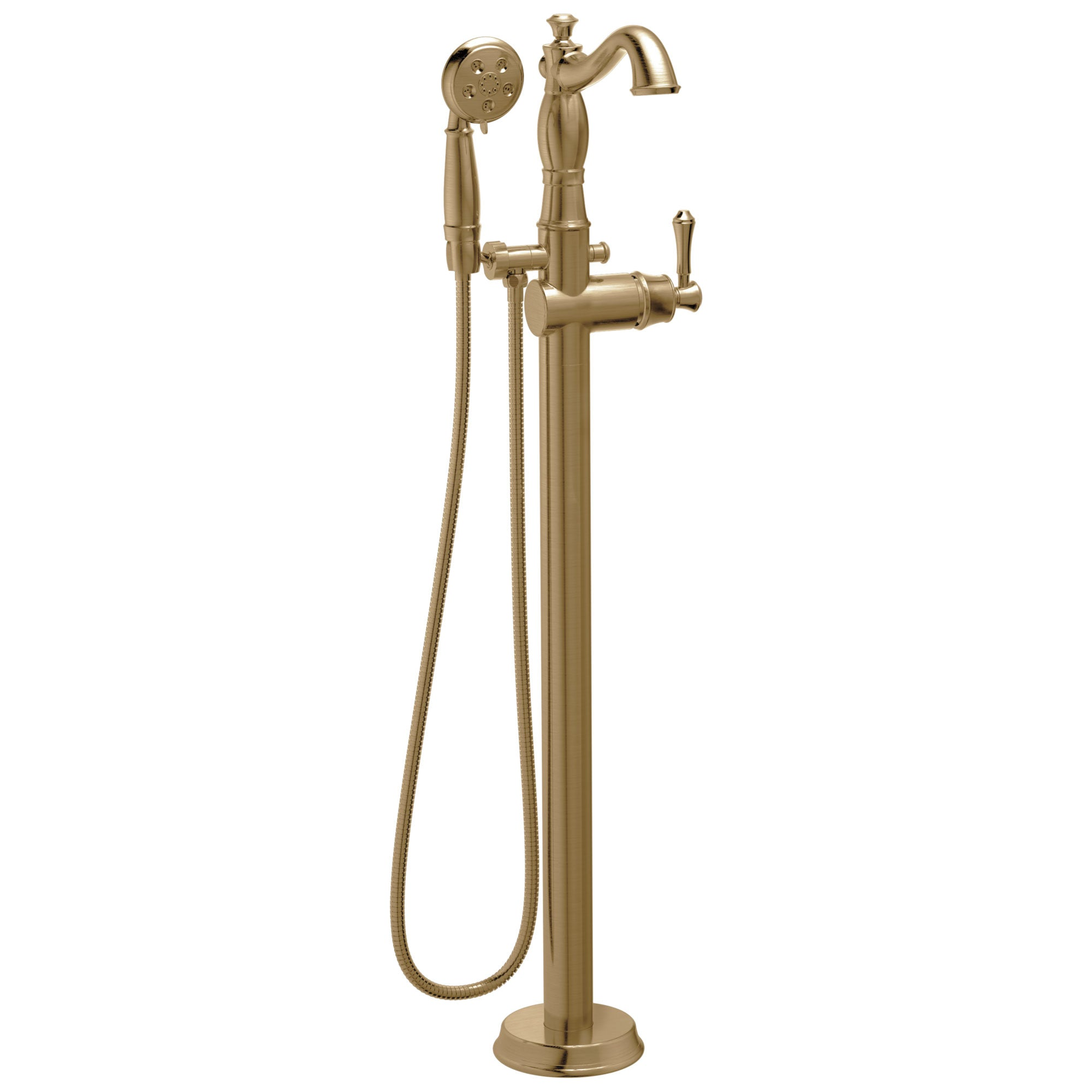 Delta Cassidy Freestanding Floor-Mount Tub Filler Faucet with Sprayer in Champagne Bronze INCLUDES Single Lever Handle and Rough-in Valve D2570V