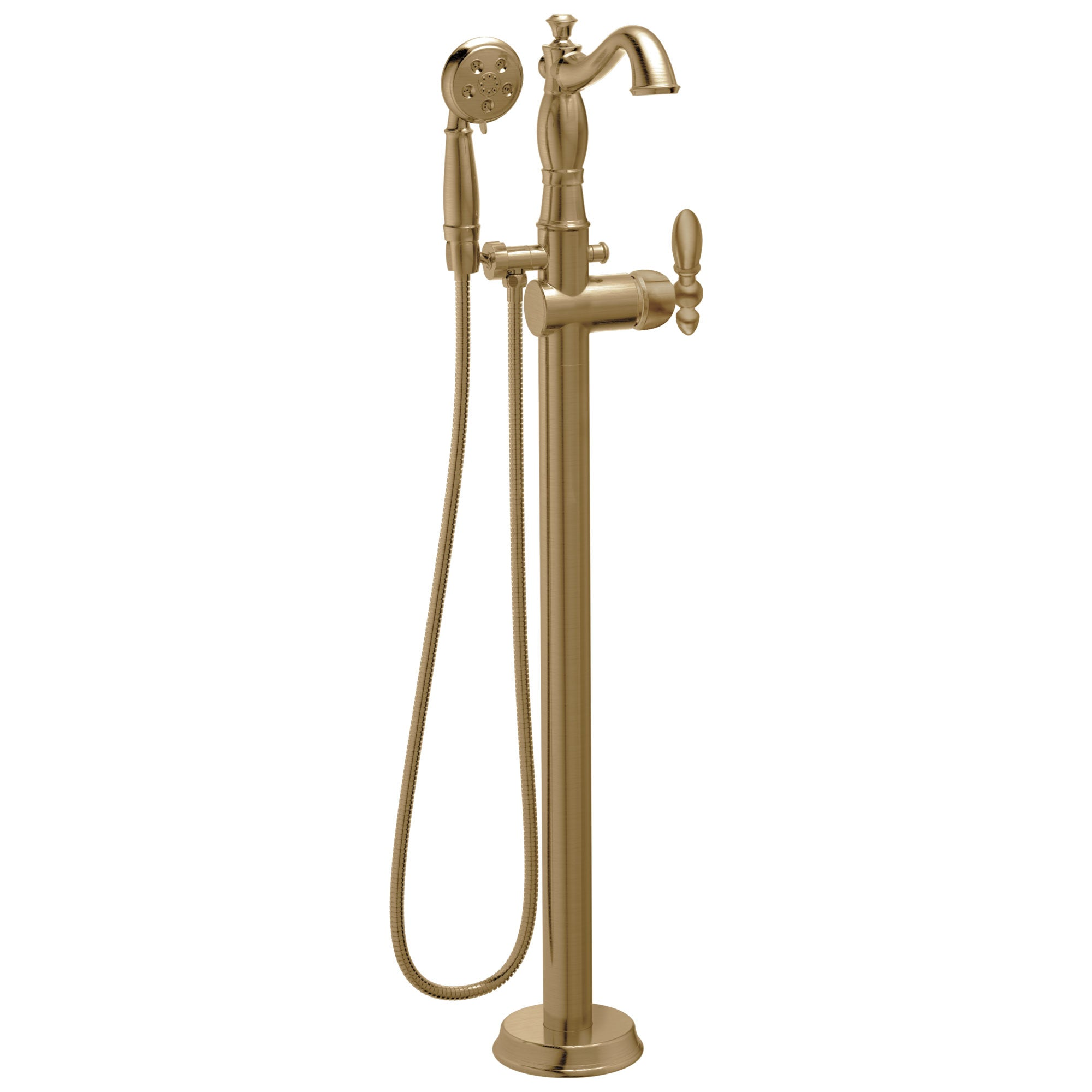 Delta Victorian Freestanding Floor-Mount Tub Filler Faucet with Sprayer in Champagne Bronze INCLUDES Single Lever Handle and Rough-in Valve D2571V