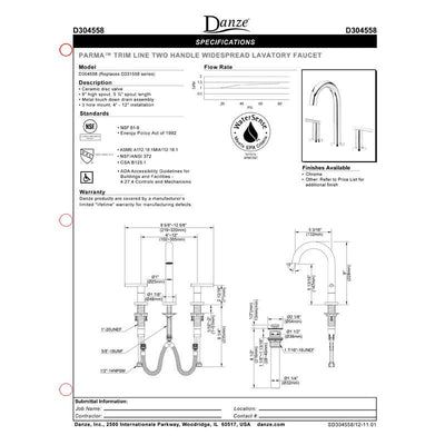 Danze Parma Chrome Cylindrical Widespread Roman Tub Filler Faucet INCLUDES Rough-in Valve