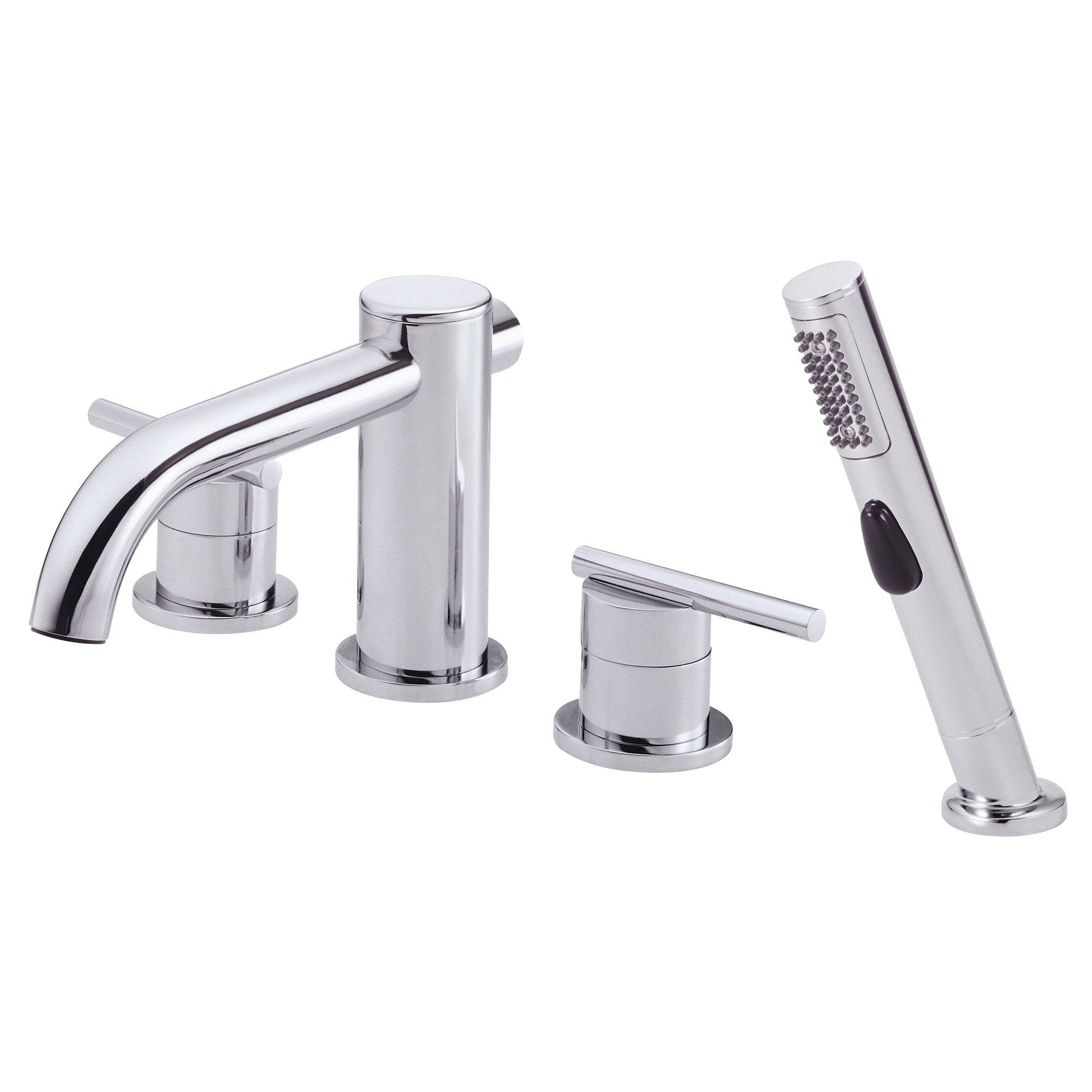 Danze Parma Chrome Modern Widespread Roman Tub Filler Faucet with Hand Shower INCLUDES Rough-in Valve