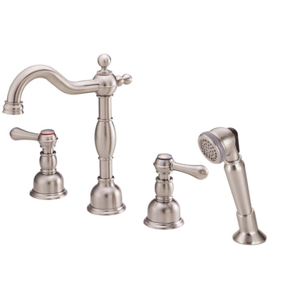 Danze Opulence Brushed Nickel Traditional Roman Tub Filler Faucet with Hand Shower INCLUDES Rough-in Valve