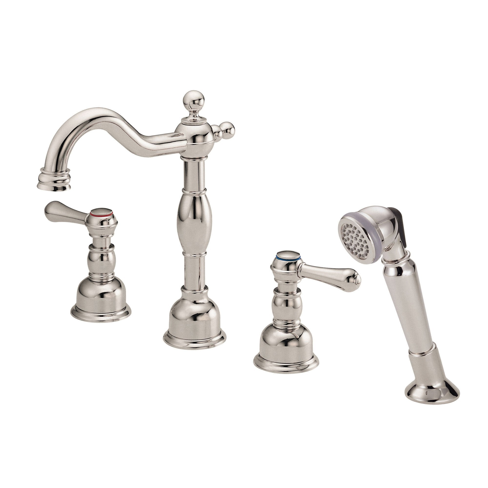 Danze Opulence Polished Nickel Traditional Roman Tub Filler Faucet with Hand Shower INCLUDES Rough-in Valve