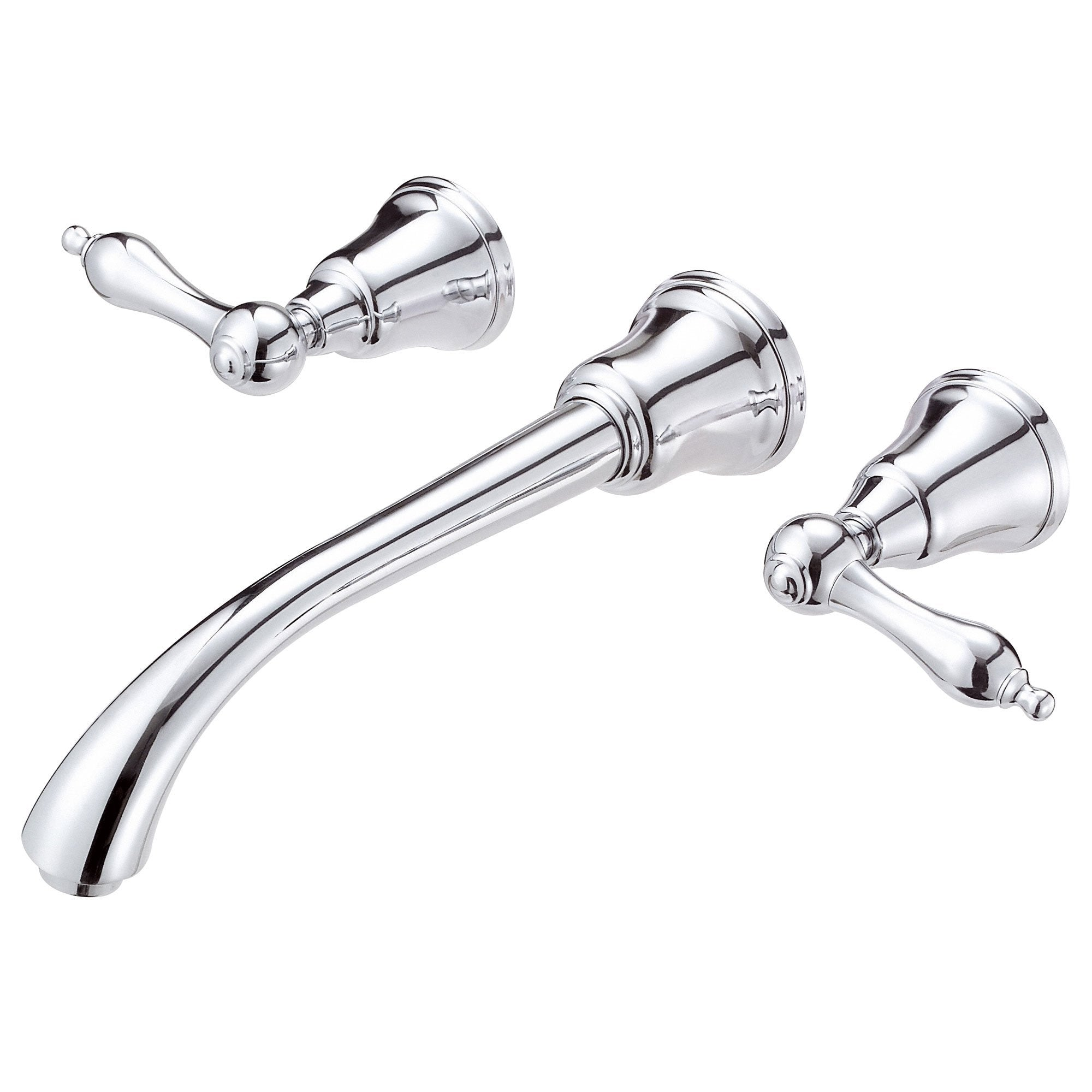 Danze Fairmont Chrome 2 Lever Handle Wall Mount Bathroom Faucet with Touch Drain INCLUDES Rough-in Valve