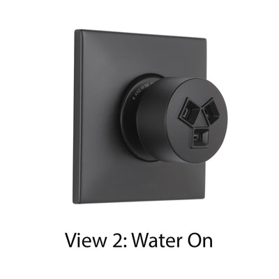 Delta Modern Matte Black Finish HydraChoice Wall Mount Body Spray Includes Valve, Square Trim, and Invigorating Spray Head D3647V