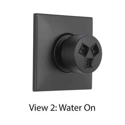 Delta Modern Matte Black Finish HydraChoice Wall Mount Body Spray Includes Valve, Square Trim, and Soothing Spray Head D3648V