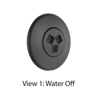 Delta Modern Matte Black Finish HydraChoice Wall Mount Body Spray Includes Valve, Round Trim, and Soothing Spray Head D3652V