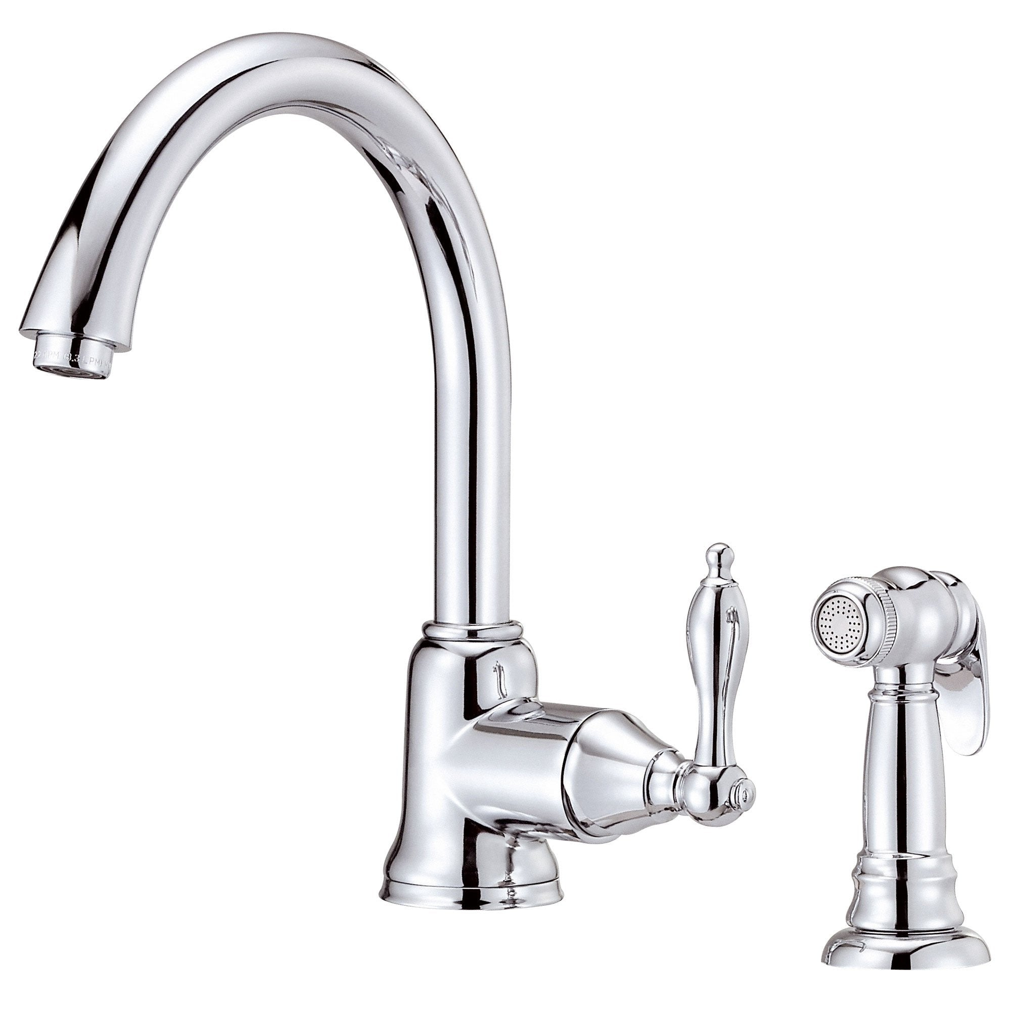 Danze Fairmont Chrome Single Handle Gooseneck Spout Kitchen Faucet with Sprayer