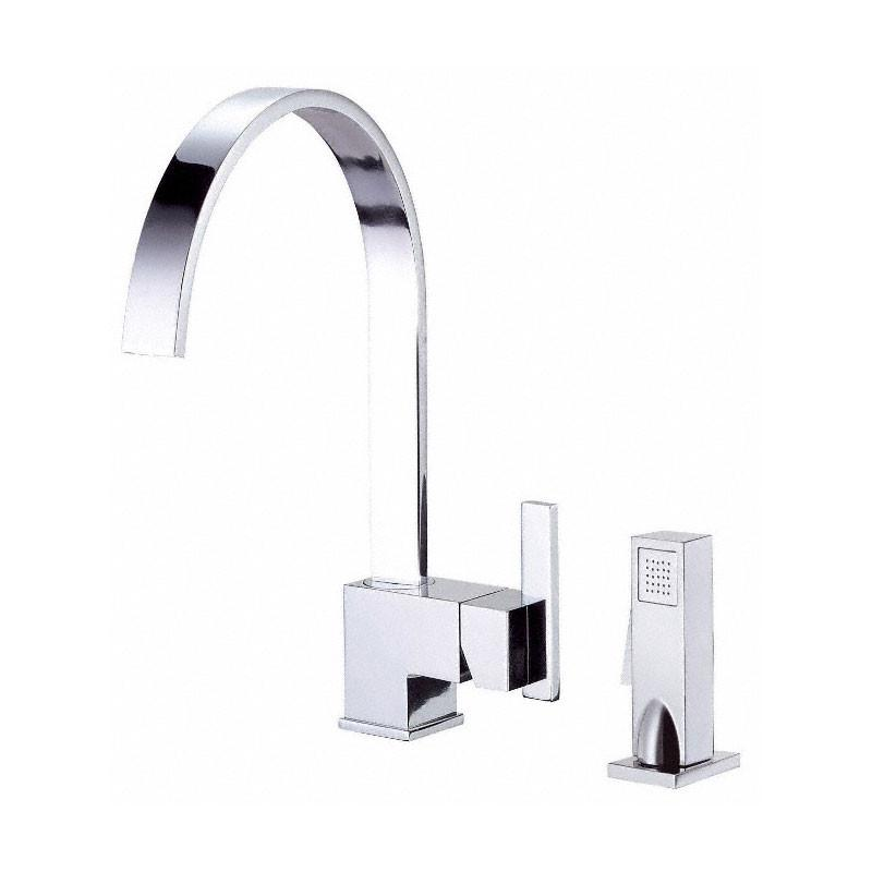 Danze Sirius Chrome Single Handle Modern High Arch Kitchen Faucet with Sprayer