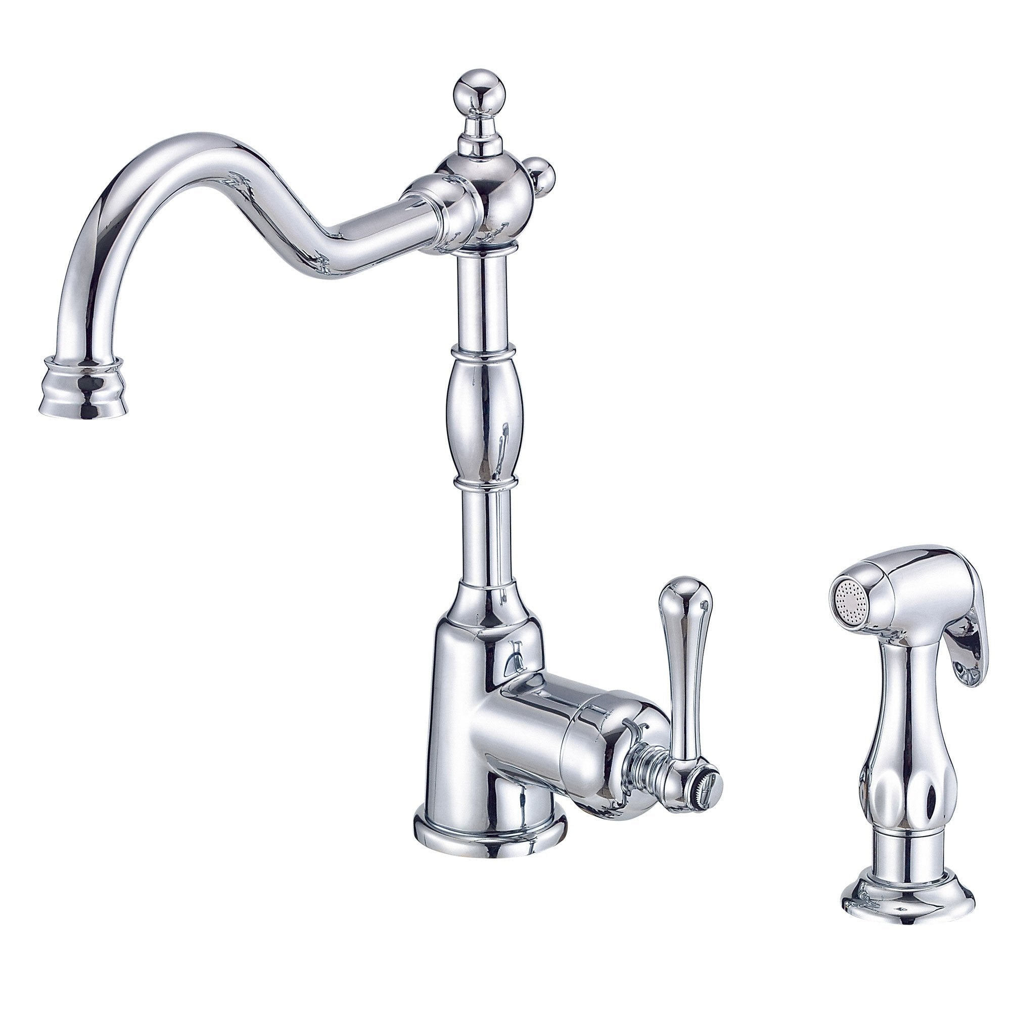 Danze Opulence Chrome Traditional Single Side Handle Kitchen Faucet with Sprayer