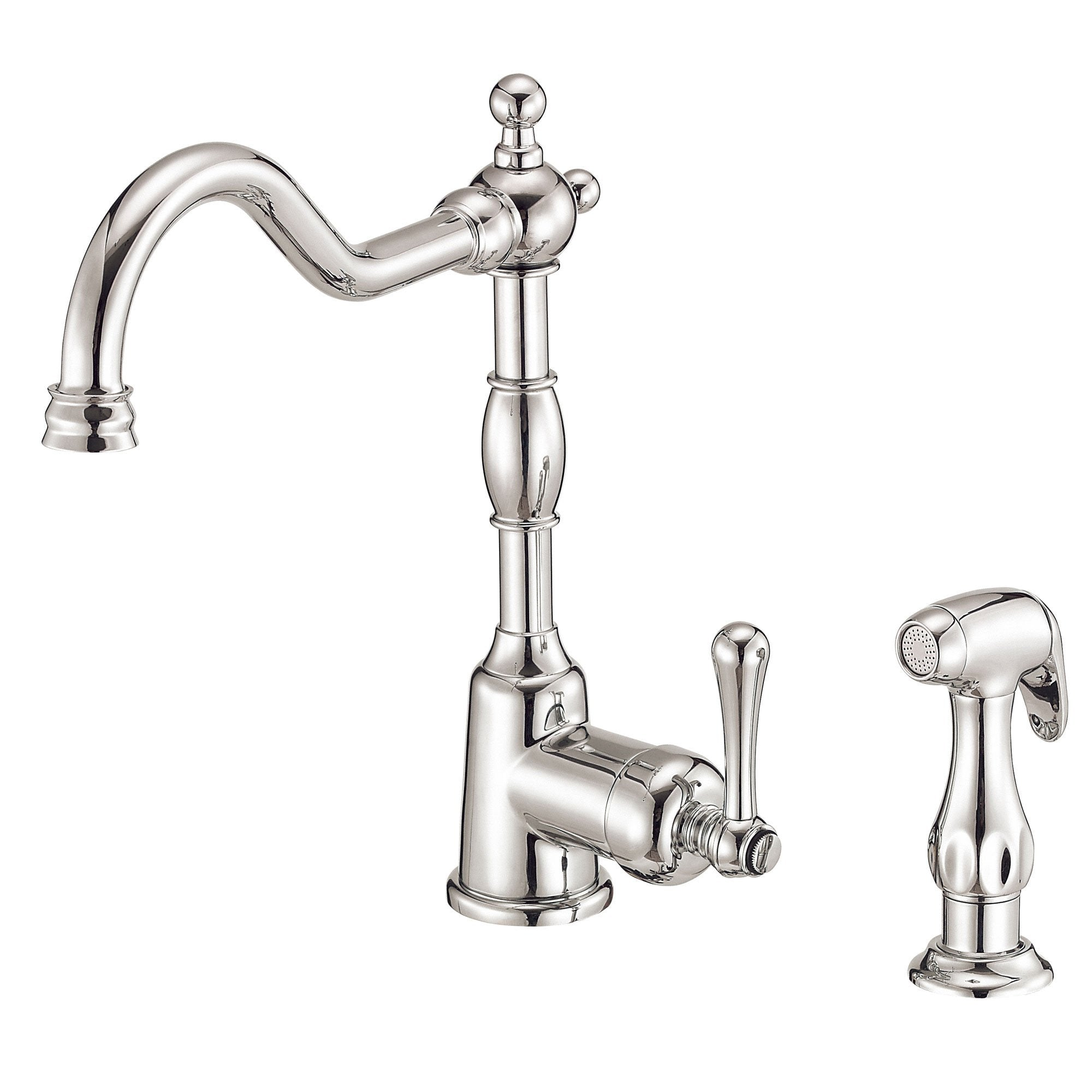 Danze Opulence Polished Nickel Single Side Handle Kitchen Faucet with Sprayer