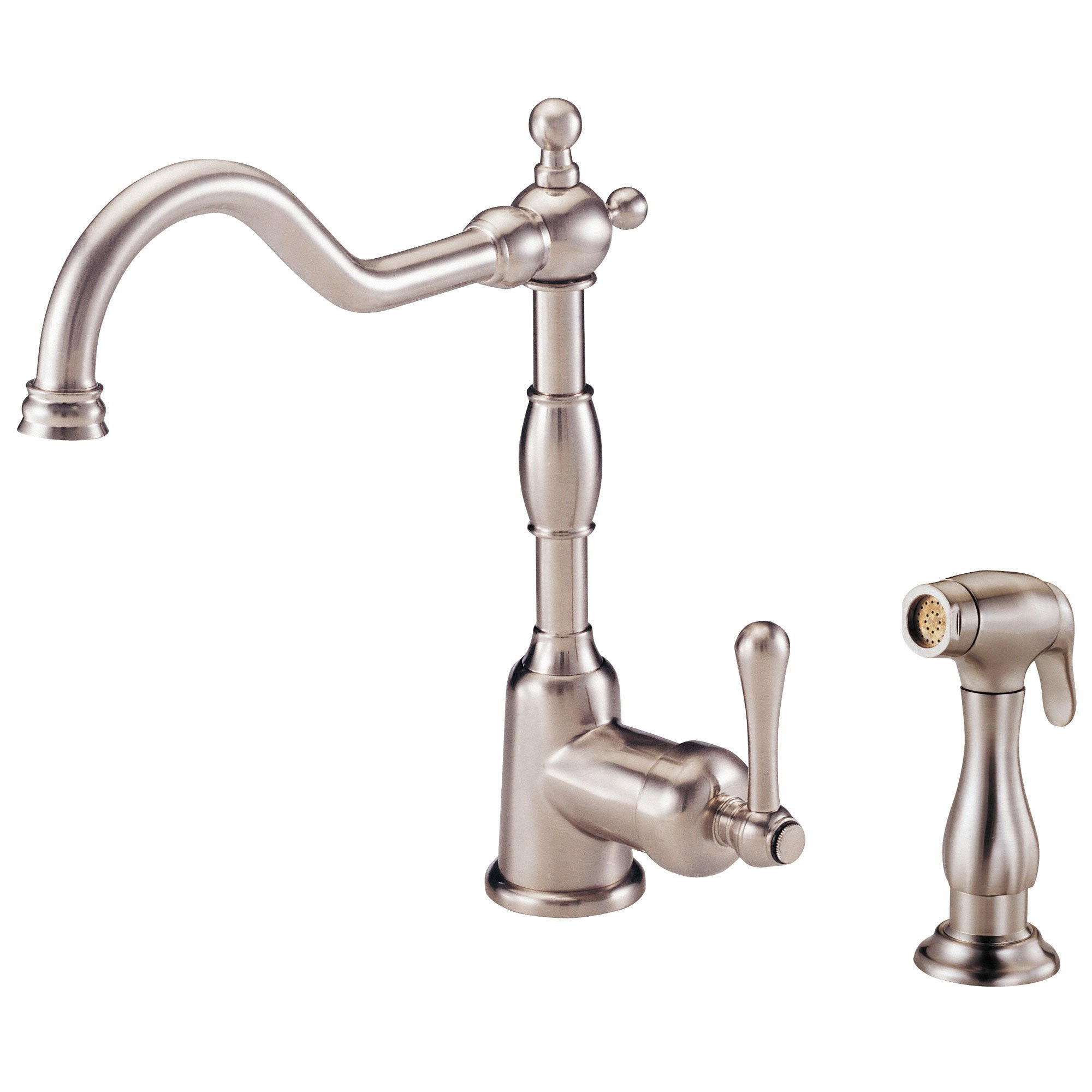 Danze Opulence Stainless Steel Single Side Handle Kitchen Faucet with Sprayer