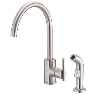 Danze Parma Stainless Steel Modern Single Handle Kitchen Faucet with Sprayer