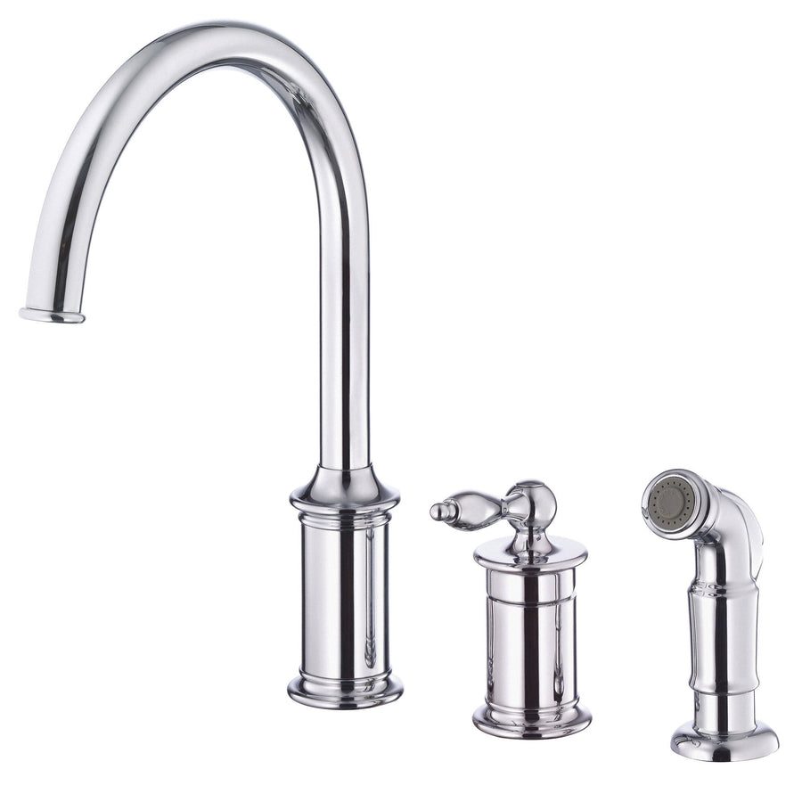 Danze Prince Chrome Single Handle 3 Hole Widespread Kitchen Faucet With  Sprayer