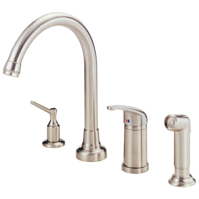 Danze Melrose Stainless Steel Widespread Kitchen Faucet w Spray & Dispenser