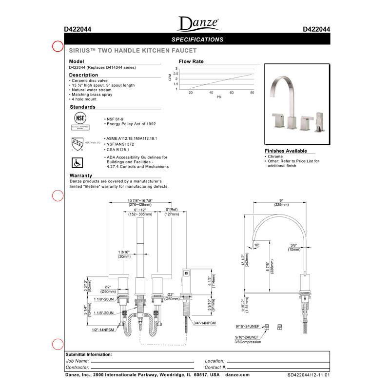 Danze Sirius Chrome 2 Handle Widespread Kitchen Faucet with Sprayer
