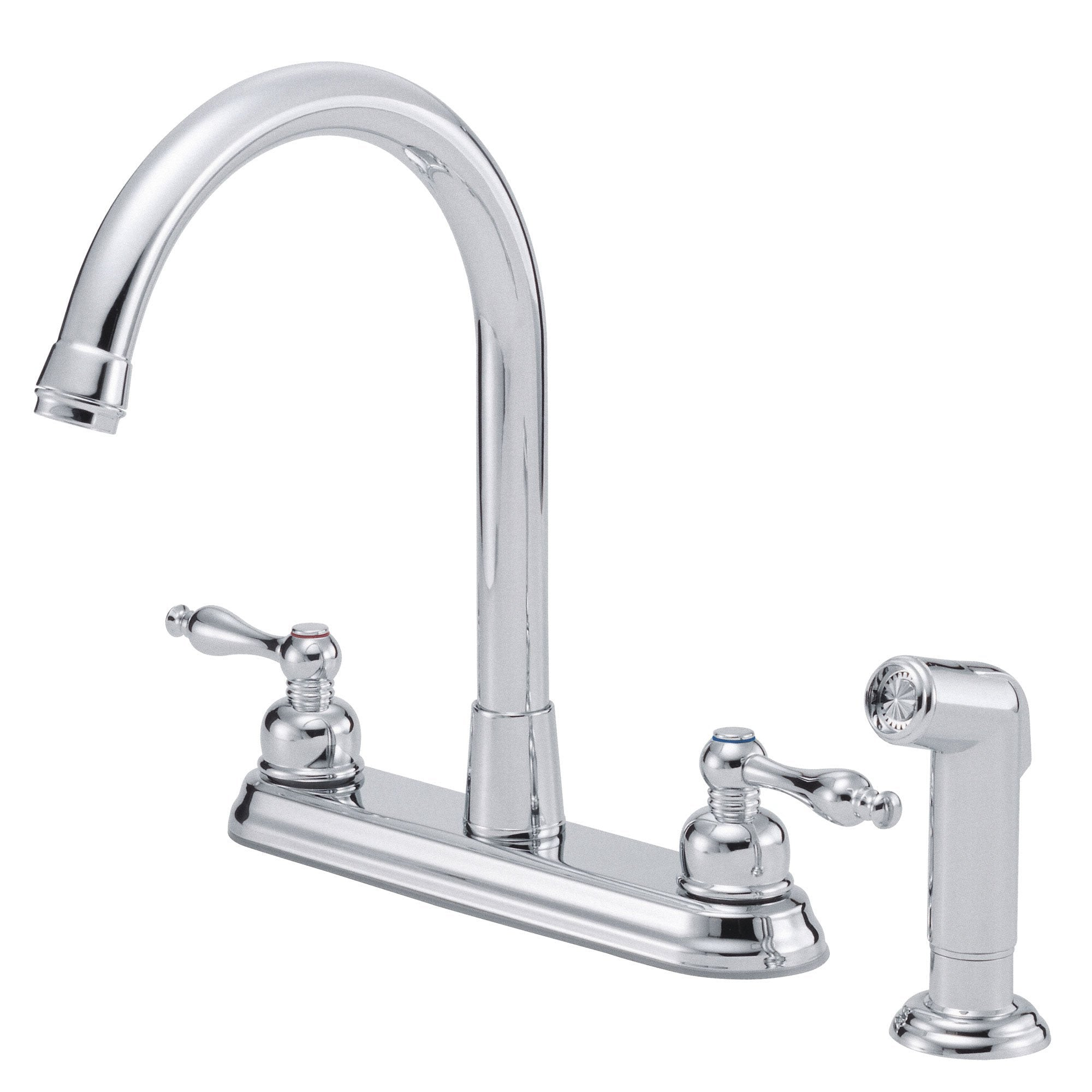 "Danze Sheridan Chrome Two Handle 8"" Centerset Kitchen Faucet with Sprayer"