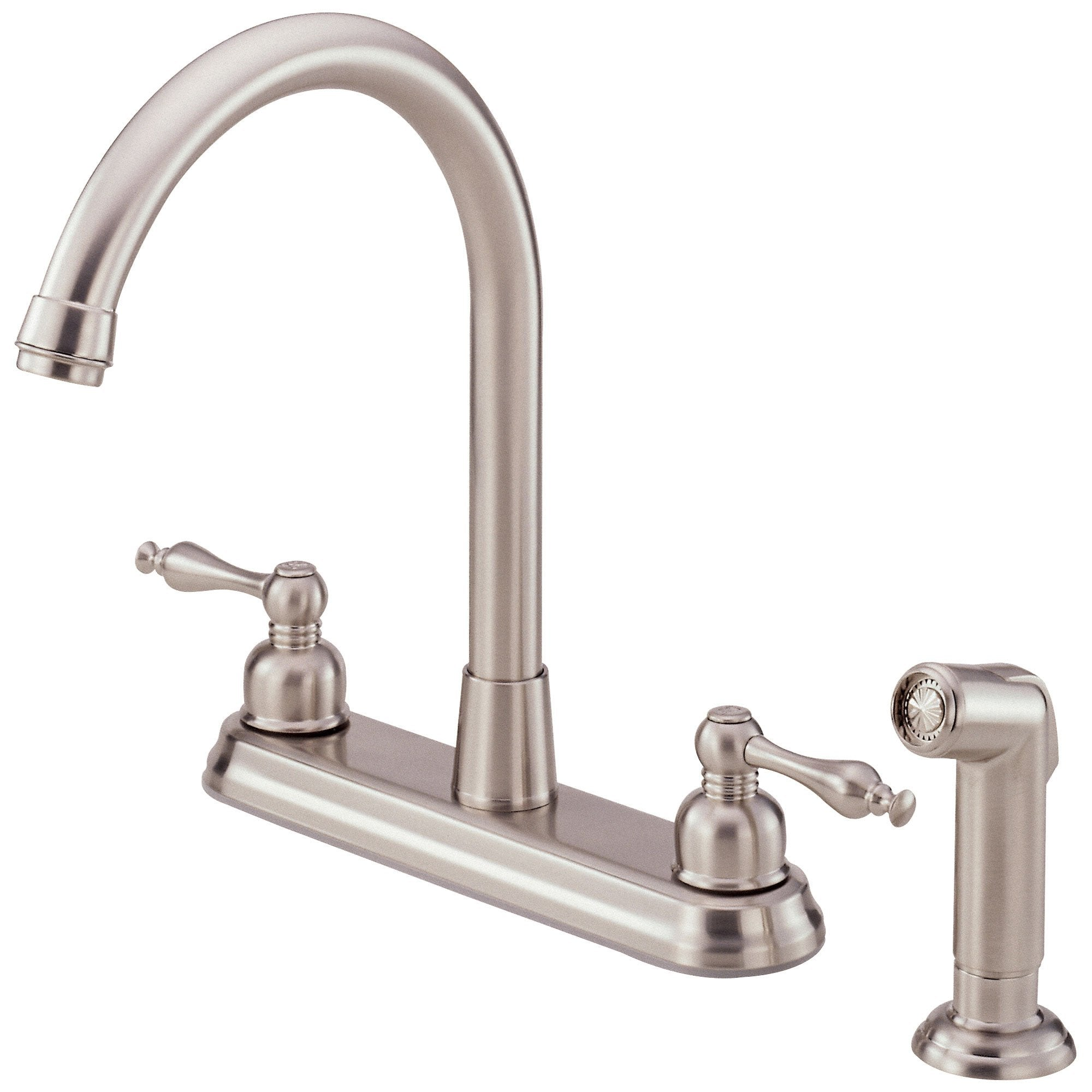 "Danze Sheridan Stainless Steel 2 Handle 8"" Centerset Kitchen Faucet with Sprayer"