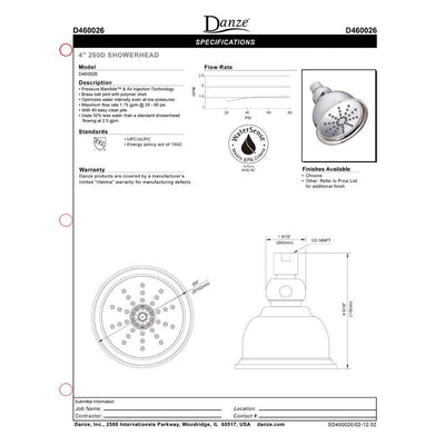 Danze Brushed Nickel 250D High Pressure Watersense Low-Flow 1.75GPM Showerhead