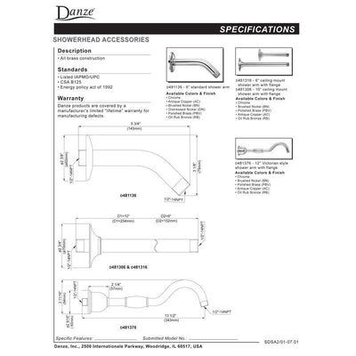 "Danze 10"" Oil Rubbed Bronze Ceiling Mount Shower Arm with Flange"