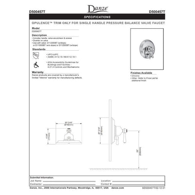 Danze Opulence Chrome Pressure Balance Shower Control with Diverter INCLUDES Rough-in Valve