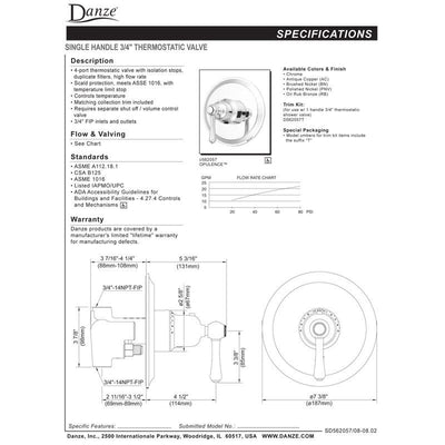Danze Opulence Brushed Nickel High-Volume Thermostatic Shower Control INCLUDES Rough-in Valve