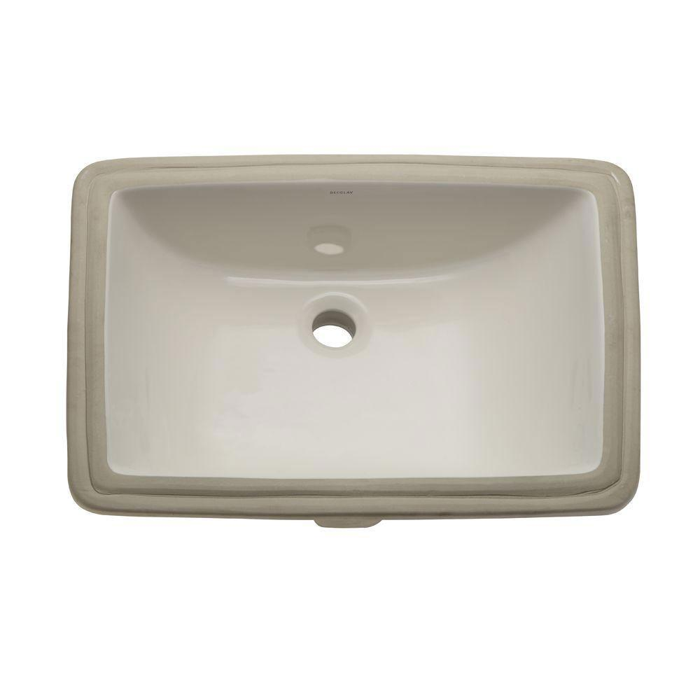 Decolav Classically Redefined Rectangular Undermount Bathroom Sink with Overflow in Biscuit 467875