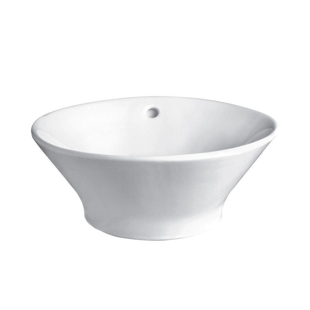 Decolav 1435-CWH Round Vitreous China Tapered and Angled Above-Counter Vessel with Overflow, White 525489