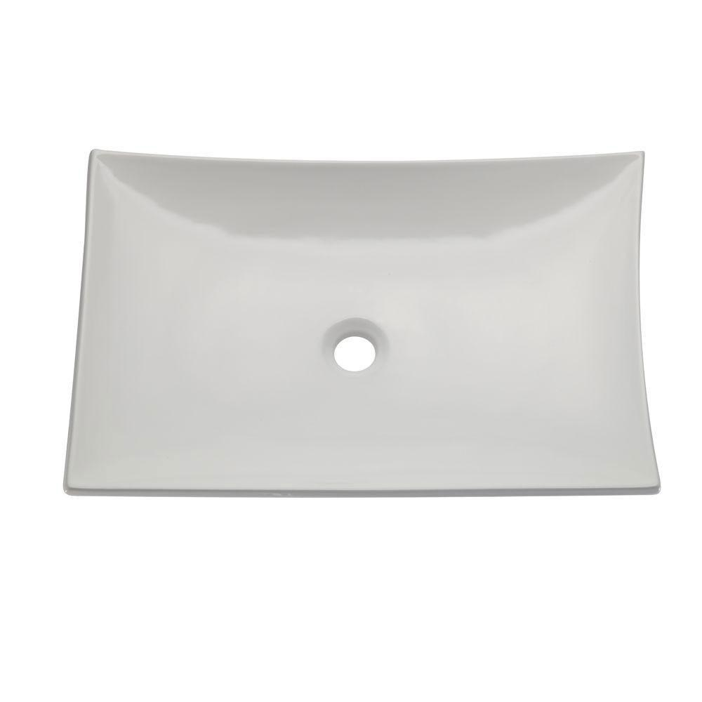Decolav 1443-CWH Classically Redefined Curved Rectangle Vitreous China Above Counter Lavatory Sink, White 542919