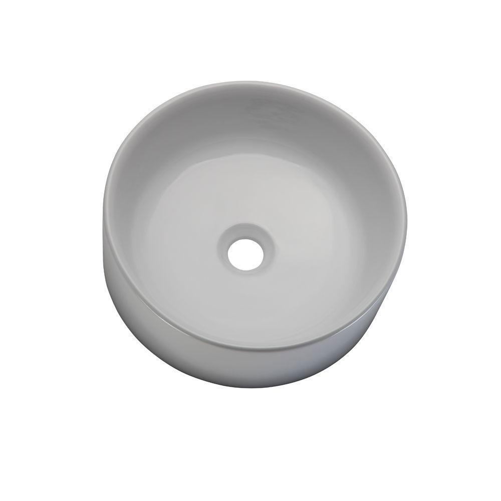 Decolav 1458-CWH Classically Redefined Round Above Counter Lavatory Sink, White 542931