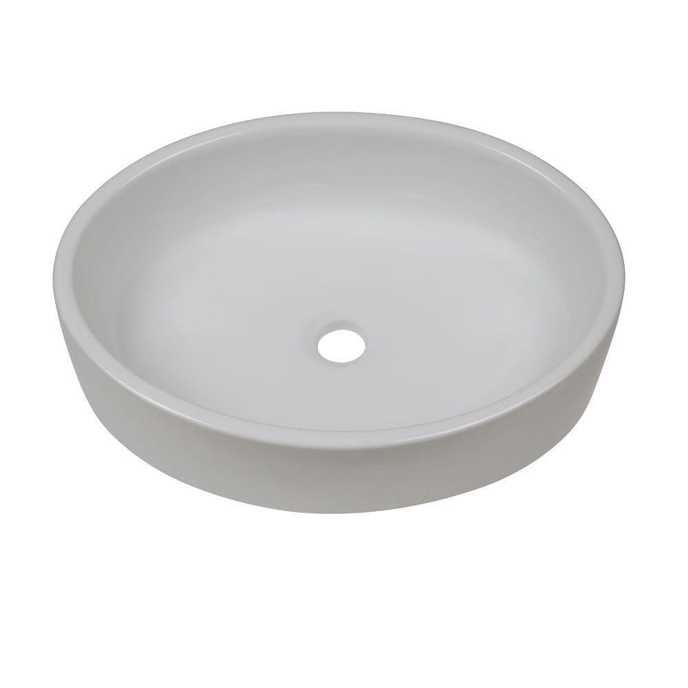 Decolav 1459-CWH Classically Redefined Elongated Above Counter Lavatory Sink, White 542932