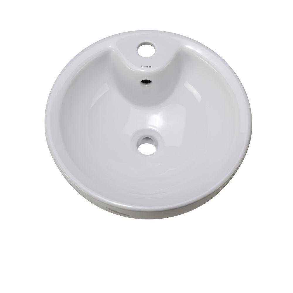 Decolav 1451-CWH Round Vitreous China Above-Counter Vessel with Overflow, White 653757