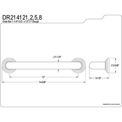 "Kingston Brass Grab Bars - Chrome Milano 12"" Decorative Grab Bar DR214121"