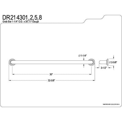 "Kingston Brass Grab Bars - Satin Nickel Milano 30"" Decorative Grab Bar DR214308"