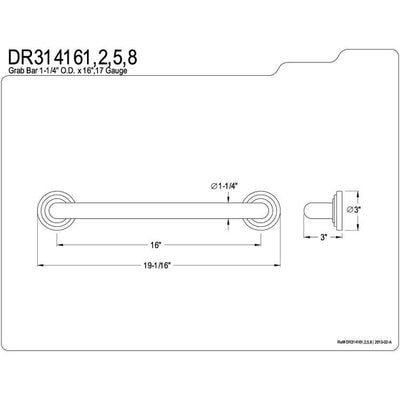 "Kingston Grab Bars - Satin Nickel Traditional 16"" Decorative Grab Bar DR314168"