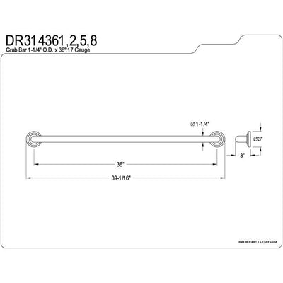 "Kingston Grab Bars - Satin Nickel Traditional 36"" Decorative Grab Bar DR314368"