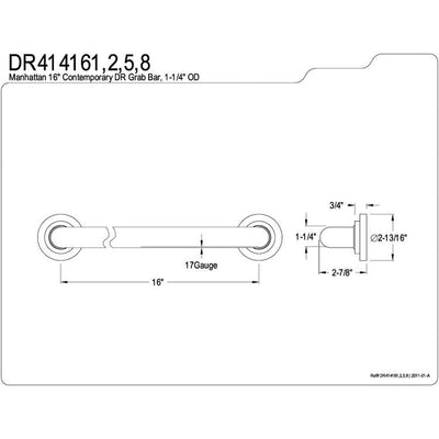"Kingston Grab Bars - Satin Nickel Manhattan 16"" Decorative Grab Bar DR414168"