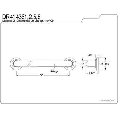 "Kingston Grab Bars - Satin Nickel Manhattan 36"" Decorative Grab Bar DR414368"