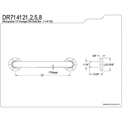 "Kingston Grab Bars - Satin Nickel Metropolitan 12"" Decorative Grab Bar DR714128"