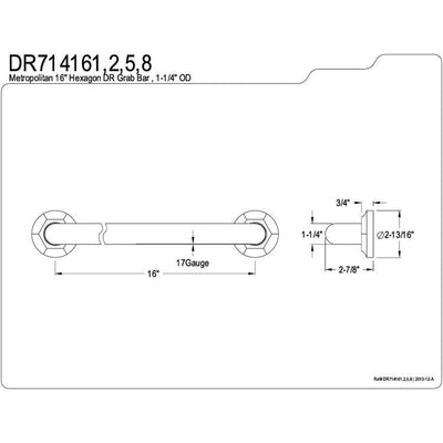 "Kingston Grab Bars - Satin Nickel Metropolitan 16"" Decorative Grab Bar DR714168"