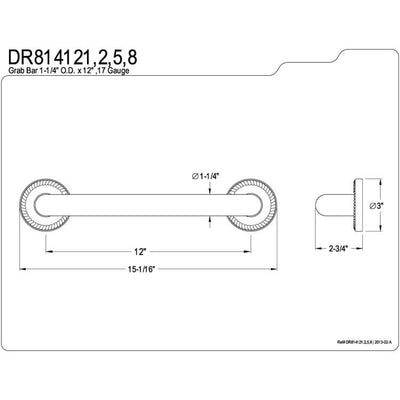 "Kingston Brass Grab Bars - Satin Nickel Regency 12"" Decorative Grab Bar DR814128"