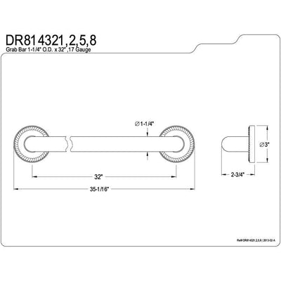 "Kingston Brass Grab Bars - Satin Nickel Regency 32"" Decorative Grab Bar DR814328"