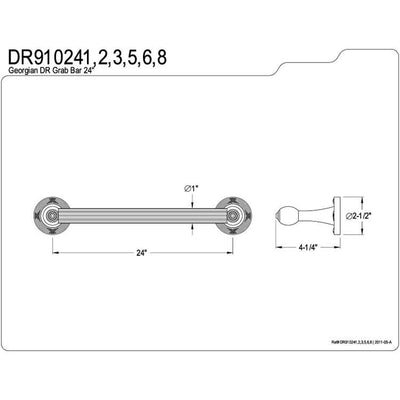 "Kingston Polished Nickel Georgian Grab Bar for bathrooms & shower: 24"" DR910246"