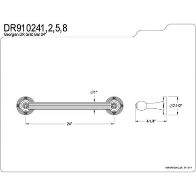 "Kingston Satin Nickel Georgian Grab Bar for bathrooms & shower: 24"" DR910248"