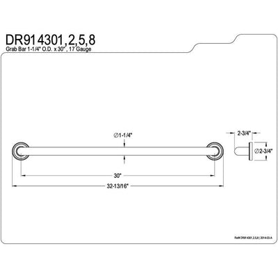 "Kingston Brass Grab Bars - Satin Nickel Camelon 30"" Decorative Grab Bar DR914308"