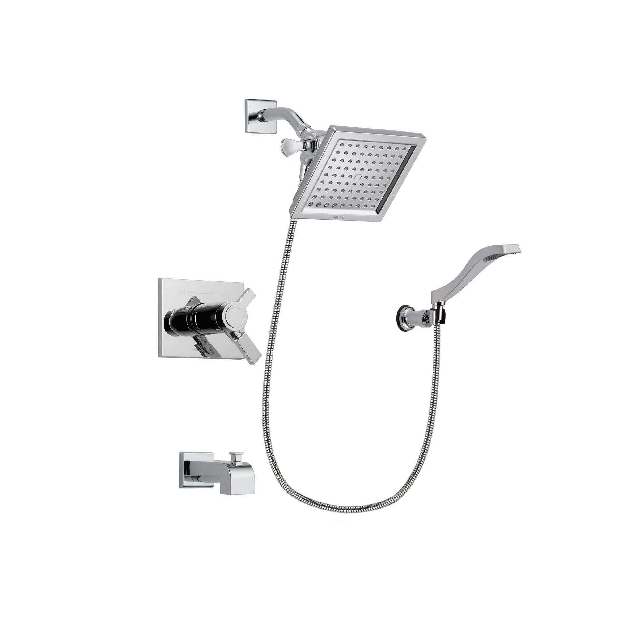 Delta Vero Chrome Tub and Shower Faucet System Package with Hand Shower DSP0019V